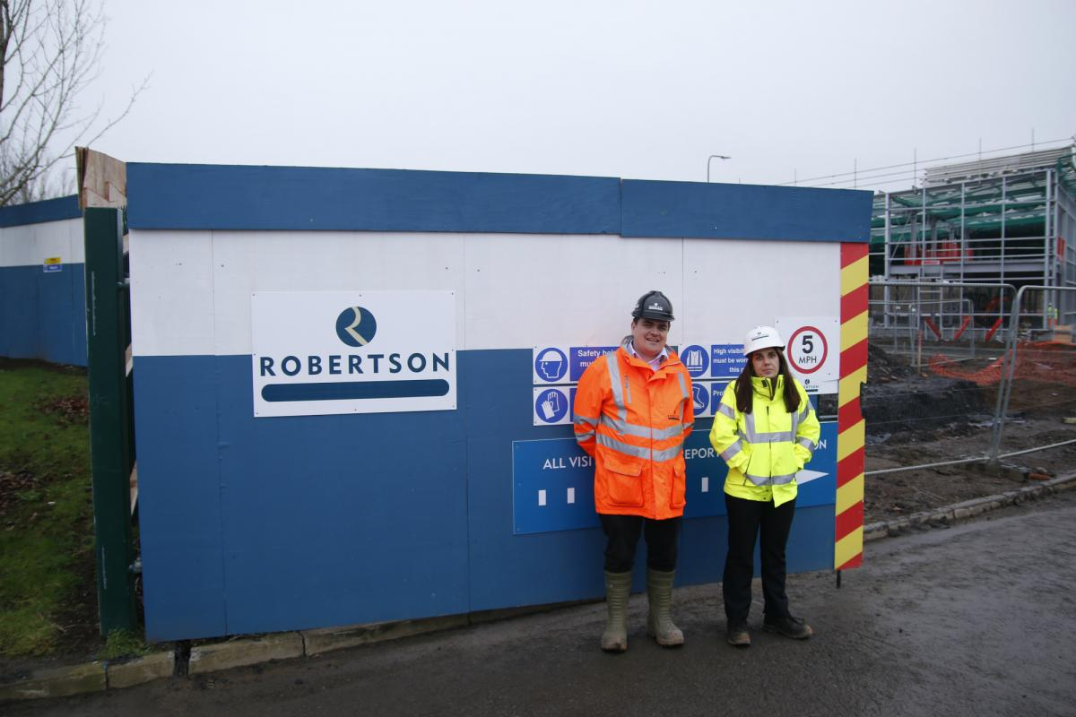 Robertson Civil Engineering Project Manager Dave Hill, at Irvine Gateway Dave Hill, with trainee Quantity Surveyor Lynsey Buchanan