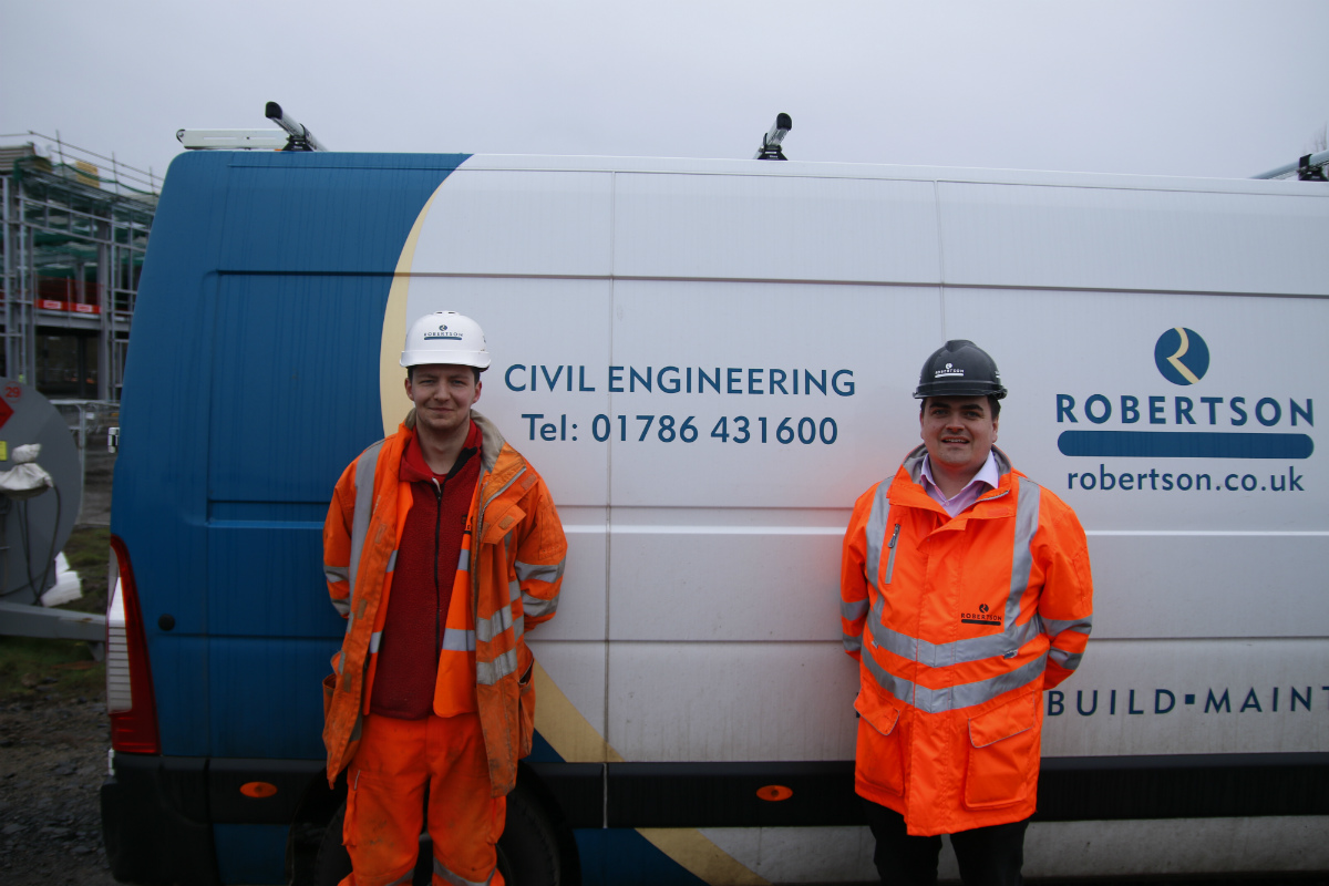 Robertson Civil Engineering apprentice groundworker Matthew Don with mentor, Project Manager Dave Hill