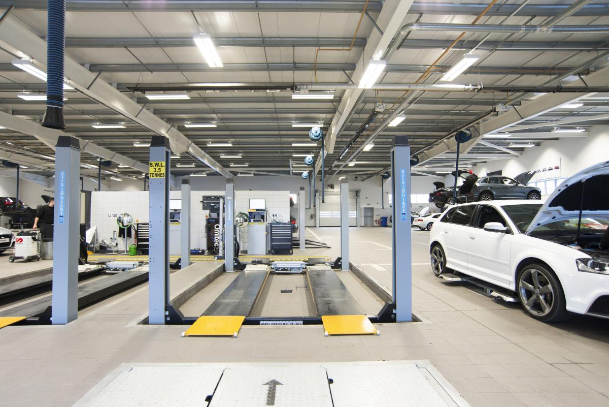 Audi Aberdeen dealership workshop area